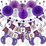 Zerodeco Geburtstag Dekoration, Happy Birthday Banner Wabenbälle und Fächerdekoration Papier Girlande Fächer Dreieckige Wimpel Spiral Girlanden und Luftballon - Violett, Lavendel und Weiß