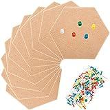 10 Packung Hexagon Filz Board Pin Board Bulletin Board Hexagon Kork Fliesen Selbstklebend mit 100 Stück Pushpins Mini Wall Bulletin Boards, Pin Board Dekoration für Bilder
