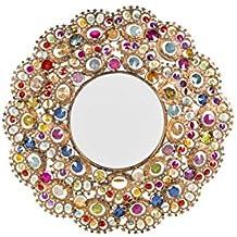espejo redondo de pared de cristal con inserciones tnico chic