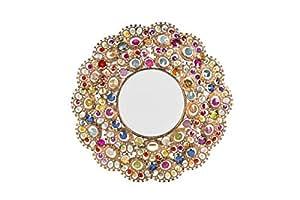 Specchio tondo da parete in vetro con inserti colorati etnico chic casa e cucina - Specchi da parete amazon ...