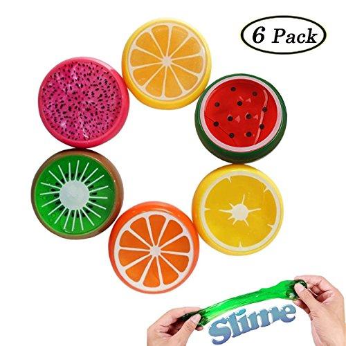 Swallowzy 6pcs frutta sorriso cristallo perla giocattolo fango fango argilla sei colori gelatina trasparente