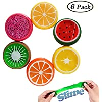 Swallowzy 6PCS Multicolor Bricolaje No Tóxico Arcilla Slime Fruta Arcilla de Moldear Juguetes para Niños