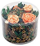 Scented Potpourri with Orange Paper Peony Flowers and Sola Stems from Thailand