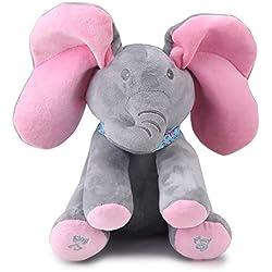 Zerodis Hablando Canto Linda Felpa Elefante Animal de Peluche Juguete electrónico Interactivo para muñecos de bebé Regalo de cumpleaños