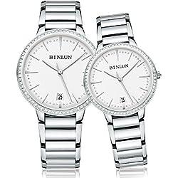 binlun Unisex kratzfestem Saphirglas witb besetzt Diamanten Schälmesser Armbanduhr für Mann und Frau
