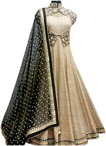 Rk Creation Women\'s Chiffon/Georgette Anarkali Suit (_Black)