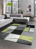 Carpetia Designer Teppich Wohnzimmerteppich karo grün grau Creme schwarz Größe 120x170 cm