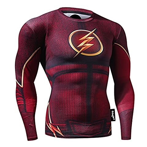 FRINGOO® Mens Compression Superhero Top Base Layer Gym Long Sleeve Running Thermal Sweatshirt Workout T-shirt Spider Superman Bat (Large, Flash)