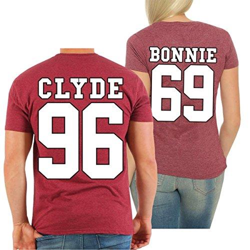 Partnershirt BONNIE & CLYDE 69 (mit Rückendruck) MANN rot meliert