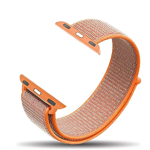 KIKN Apple Watch Strap, Gewebt Nylon Sport Loop Band Armband Ersatzarmband Für Apple Watch Serie 3, Serie 2, Serie 1,Orange,42Mm -