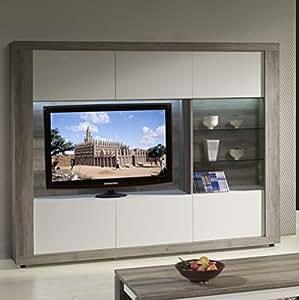 Matelpro-Meuble TV mural contemporain avec éclairage coloris mara/blanc laqué Alibel