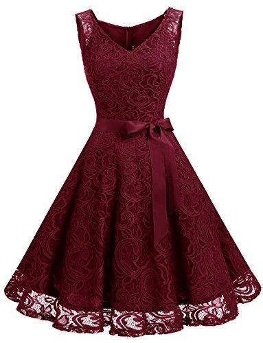 Dressystar DS0010 Brautjungfernkleid Ohne Arm Kleid Aus Spitzen Spitzenkleid Knielang Festliches Cocktailkleid Weinrot XS
