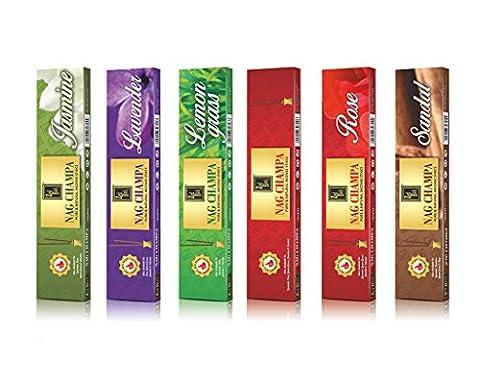 Nagchampa série sticks naturelles parfumées - Lot de 6 - Fabriqué à partir de produits naturels à base de plantes et - Sticks Huile parfumée - 10 sticks par Box- Nag Champa Encens