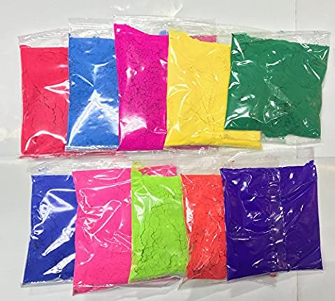 India Bazaar Pack of 10 Assorted HOLI Colours Powders - 70g In Each Pouch Herbal Holi Powder Colour Festival Throwing Powder Paint Parties