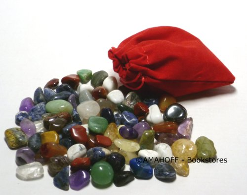 Echte Halbedelsteine, 80 Stück im Schmuckbeutel (Größe ca. 10-15mm)
