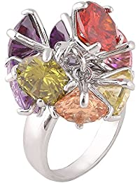 shaze Multi Color Stone Cocktail Ring for Women/Girls Rings for Women Ring for Girlfriend