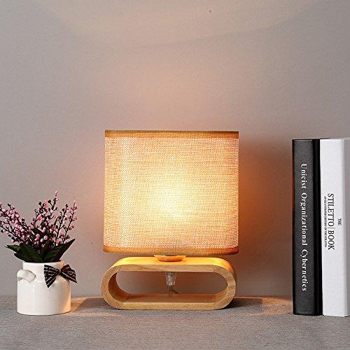 LIGUQI@ Nordische Hölzerne Kleine Tischlampe Nordische Japanische Schlafzimmer Nachttischlampe Modernes Einfaches und Warmes Hölzernes Licht,Gelb,Durchmesser 17 cm (Fluoreszierende Innenbeleuchtung)