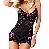 Lingerie Sexy pour Femmes,Honestyi Femmes Lingerie la Mode des Femmes Sexy Arc Lace Osé Bandage Sous - Vêtements Spice Costume Tentation Voir en Sous - Vêtements (Une Taille, Poudre)