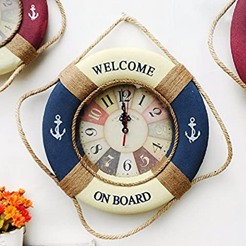 KHSKX American life ring 35cm wall clock, red and blue mute bells,Blue
