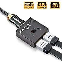 HDMI Switch, ASHARM HDMI Conmutador Bidireccional Entrada 2 a 1 Salida o Switch 1 a 2 Salida, Soporta 4K, 3D y 1080P para HDTV, BLU-Ray Player, PS3, PS4, DVD, DVR, Xbox, etc