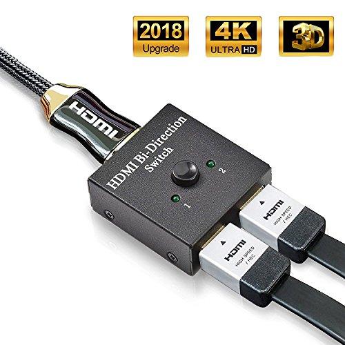 HDMI Switch,ASharm HDMI Splitter & HDMI Umschalter 2 in 1 Out Unterstützt HD 4K 3D 1080P für Xbox / PS4 / HDTV/Blu-Ray/DVD / DVR Player usw.