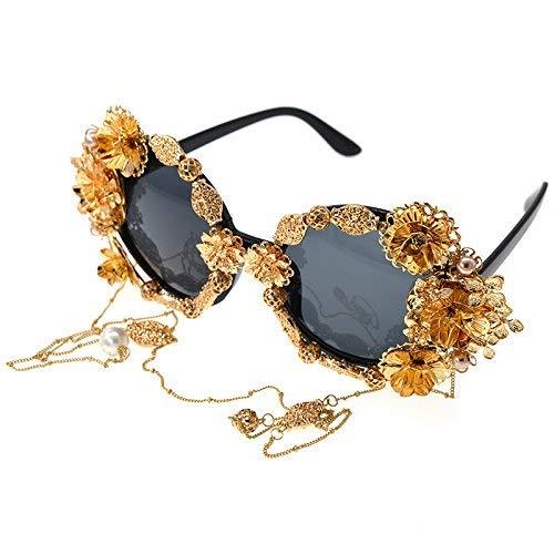 XHCP Frauen Klassische Sonnenbrille Hochwertige Vintage Handgemachte Metall Gold Schmetterling Blume Polarisierte Barock Sonnenbrille Für Frauen Perle Brillen Retro Stil Quaste Kette Sonnenbrille