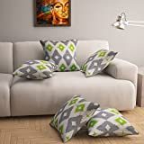 #4: Story@Home Grey Premium Printed Cushion Cover set of 5 Pcs - 16 x 16 Inches