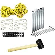COM de Four® 30Juego de accesorios de camping, tienda, goma Martillo, herringe, cuerda, gomas