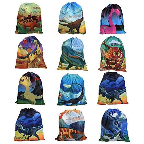 BUYGOO 12PCS Dinosaurier Gastgeschenke Beutel - Kindergeburtstag Geschenktüten Dinosaurier Party Kordelzug Taschen für Kinder Geburtstag, Give Aways Mitgebseltüten, Geschenktaschen, Dino Partytüten