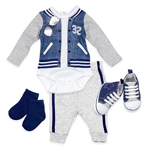 Lily & Jack Baby Set Jungen grau | Motiv: College | Outfit mit 4 Teilen für Neugeborene & Kleinkinder | Größe: 6-12 Monate ()