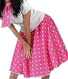 erdbeerloft - Unisex - Erwachsene Rock und Schal im Rock´n´Roll Style mit Punkten, 3XL, Pink