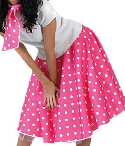 Rock-and-roll-schmuck (erdbeerloft - Unisex - Erwachsene Rock und Schal im Rock´n´Roll Style mit Punkten, 3XL, Pink)