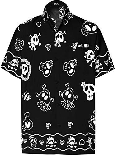LA LEELA Pumkin Scary Grusel Ghosts Happy Halloween kostüm Herren Hemd Strandhemd Hawaiihemd Kurzarm Urlaub Hemd Freizeit Reise Hemd Party Festliche Hemd Hawaii Front-Taschehemd Schwarz_W188 (Gute Scary Kostüm)