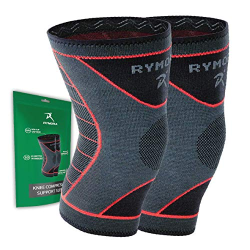 Rymora Knee Support Brace Compression Sleeves for Women and Men (Pair) (Extra Small) [XS]