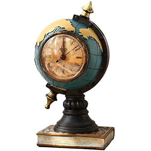 HongTeng Retro Bracket Uhr Harz Globus Wohnzimmer Schlafzimmer Nachttisch Desktop-Dekor, blau - Quarz-kristall-globus