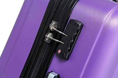 TSA-Schloß 2080 Hangepäck Zwillingsrollen neu Reisekoffer Koffer Trolley Hartschale XL-L-M(Boardcase) in 12 Farben (Lila, M) - 3