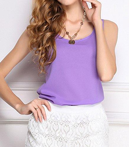 Sommer Mode Vest Reizvolle Rundkragen Weste Schlinge Top ärmellos Hemden Einfarbig T-shirt Freizeit Blouse Oberseite Violett
