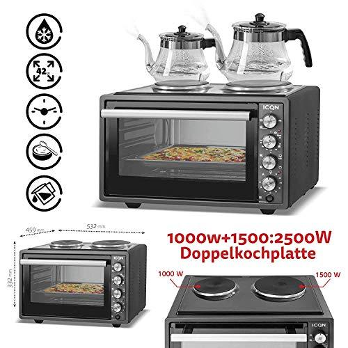 ICQN 42 Liter Mini-Backofen mit 2 Kochplatten und Umluft | 3800 Watt | Innenbeleuchtung | Pizza-Ofen | Doppelverglasung | Gitterrost | Timer Funktion | Emailliert | Gleichzeitig Kochen und Backen