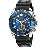 Accurist Mens Quartz Watch With Blue Dial Analogue Chronograph Display And Black Silicon Strap MS710N