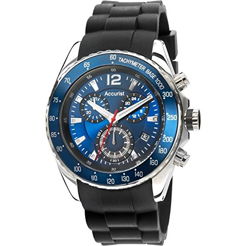 Accurist-Mens-Quartz-Watch-with-Blue-Dial-Chronograph-Display-and-Black-Silicone-Strap-MS710N01