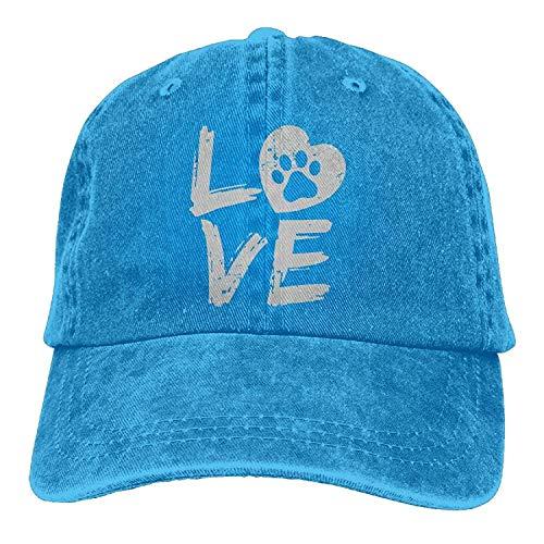 CrownLiny Men Women Love Paw Print In Heart Denim Jeanet Baseball Hat Adjustable Street Rapper Hat