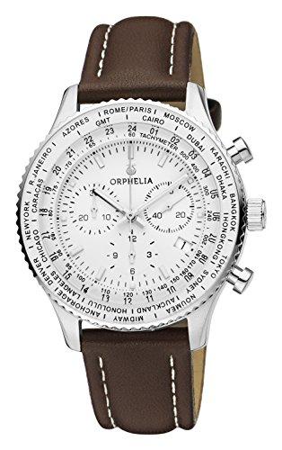 Orphelia Herren-Armbanduhr Master Chronograph Quarz, Braun/Weiß