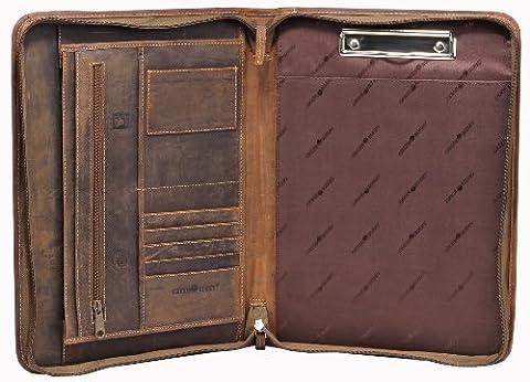 Greenburry Leder-Schreibmappe DIN A4 Vintage Konferenzmappe mit Reißverschluss verschließbar und Klemmschiene. Viele Steckfächer – ECHT LEDER pflanzlich gegerbt – Lieferbare Farben: Braun und