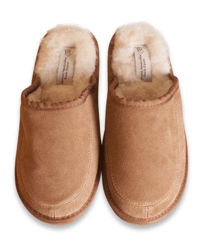 Nordvek - Herren Pantoffeln aus echtem Veloursleder mit Schaffell-Wolle & Synthetik-Mix - # 445-100 Kastanienbraun