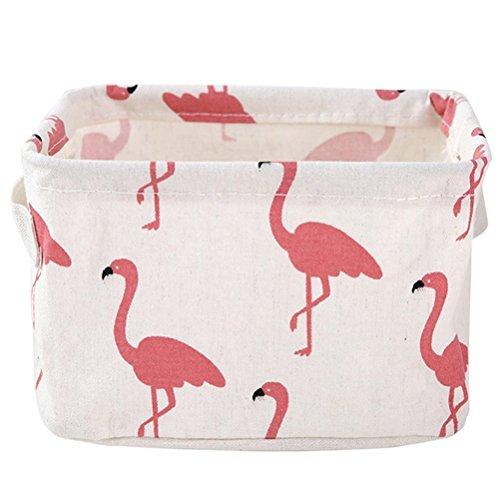 HENGSONG Praktische Aufbewahrungsbox Korb Kosmetik Koffer Make-up Tasche Spielzeug Ablagebox Desktop Organizer für Haus Kinderzimmer Büro Aufbewahrung (Weiß Flamingo)