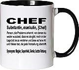 Mister Merchandise Kaffeebecher Tasse Chef Definition Geschenk Gag Job Beruf Arbeit Witzig Spruch Teetasse Becher Weiß-Schwarz