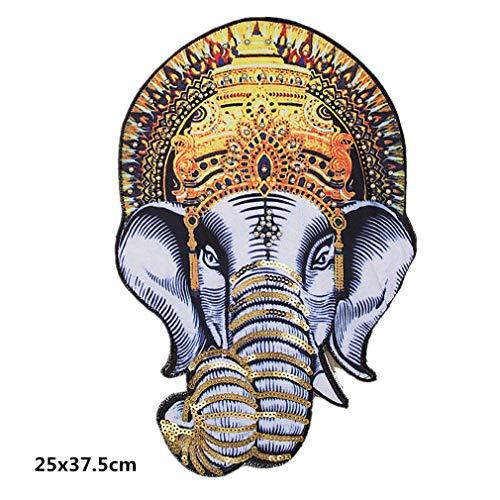 Bella Toppe Termoadesive Patch Applique Toppa Paillettes Ricamato Elefante Grande Vintage Perline Craft Patches Iron On Sew On per Felpa T-Shirt Cappotto