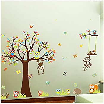Forest Animals Owl Birds Hanging Monkey Squirrel Colorful Tree Art Wall  Stickers Decal For Nursery Home Decor Boys And Girls Children Courtyard  Baby Room Part 43