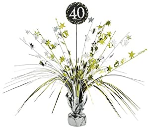 Amscan 110294 33 cm Gold Celebration 40th Centrepiece Spray by Amscan
