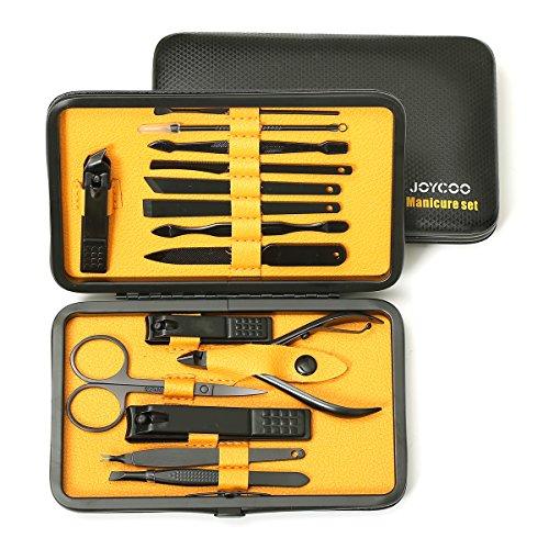 Joycco Kit professionnel manucure pédicure Set Nail Clipper cas toilettage Nail avec coffret luxueux (Yellow)